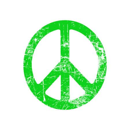 elipse: ilustraci�n vectorial grunge elipse verde s�mbolo de signo de la paz aislado en el fondo blanco