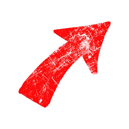 illustration vector red grungy rubber stamp symbol of arrow isolated on white Illustration