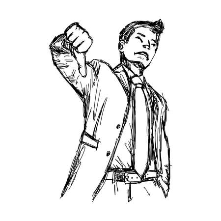 unsatisfied: illustration vector hand drawn doodle businessman with thumb down