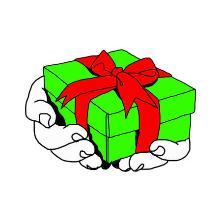 compassionate: illustration vector doodle hand drawn of  hand of person giving or receiving green gift package with red ribbon, isolated on white background. Illustration