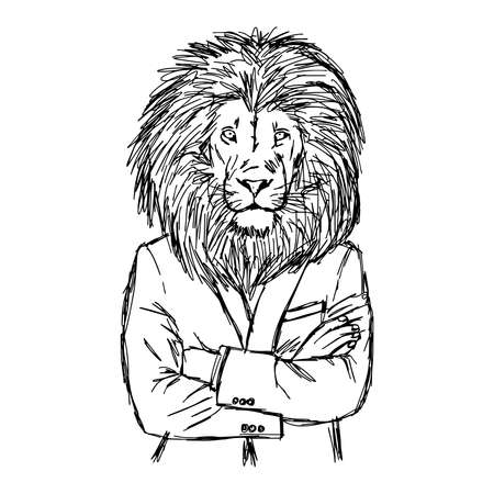 crossed arms: illustration vector hand drawn doodle lion in business suit with crossed arms, leadership concept