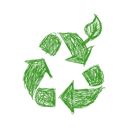 green world: illustration vector hand drawn doodle green recycle sign with leaf