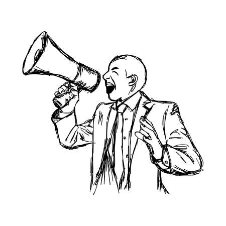 commanding: illustration vector hand drawn doodle businessman shouting through megaphone isolated