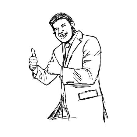 plump: illustration vector hand drawn doodle plump businessman giving two thumbs up.