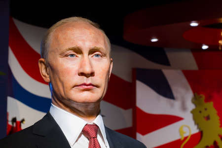 BANGKOK, THAILAND - DECEMBER 19: Wax figure of the famous Vladimir Putin from Madame Tussauds on December 19, 2015 in Bangkok, Thailand