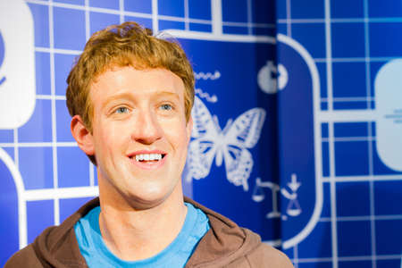 BANGKOK, THAILAND - DECEMBER 19: Wax figure of the famous Mark Zuckerberg from Madame Tussauds on December 19, 2015 in Bangkok, Thailand.