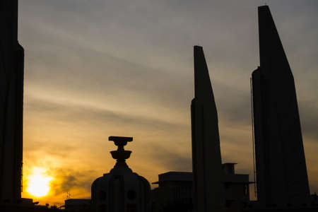 democracy Monument: The Democracy Monument at twilight time at Bangkok,Thailand, Silhouette