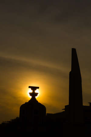 election night: The Democracy Monument at twilight time at Bangkok,Thailand, Silhouette