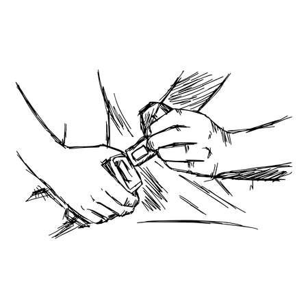 illustration vector doodle hand drawn of sketch hand fastening seat belt in car Stock Illustratie