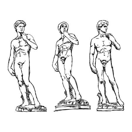 michelangelo: illustration vector doodle hand drawn of sketch David by the Italian artist Michelangelo