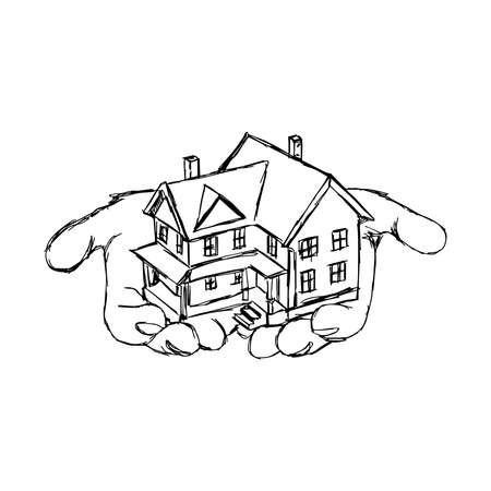 hand holding house: illustration vector doodle hand drawn of sketch hand holding house Illustration
