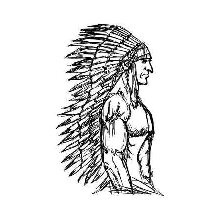 illustration vector hand drawn doodle portrait of Indian man with muscle