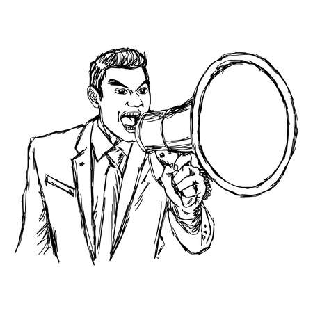 commanding: illustration vector hand drawn doodle angry businessman shouting through megaphone isolated