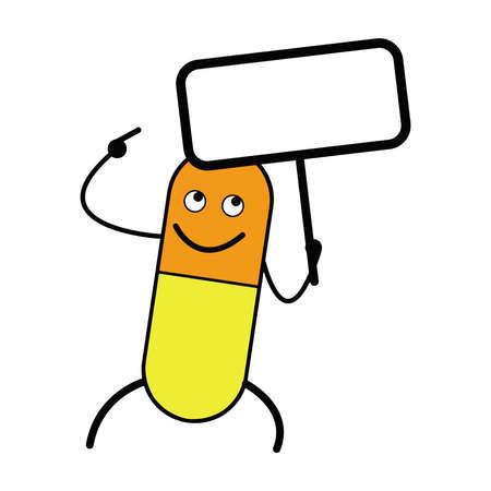 medical bills: illustration vector smiling capsule holding a blank sign, copyspace