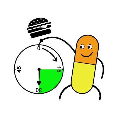 illustratie vector capsule wijzend klok en hamburger boven, medicijn na de maaltijd