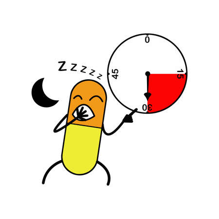 duration: illustration vector capsule yawn and point clock, medicine before sleeping