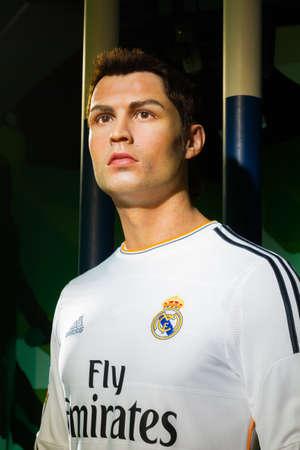celeb: BANGKOK, THAILAND - DECEMBER 19: A waxwork of Cristiano Ronaldo on display at Madame Tussauds on December 19, 2015 in Bangkok, Thailand.