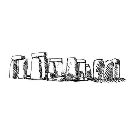english countryside: illustration vector doodle hand drawn of sketch stonehenge isolated on white background Illustration