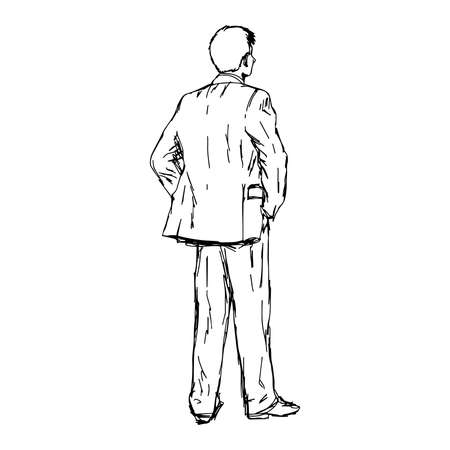 introducing: illustration doodle hand drawn of sketch young businessman standing with his hands in pockets. Back view. Concept of thinking
