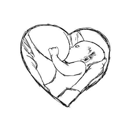 ilustración del doodle del bebé lactante bosquejo en el marco de la forma del corazón, concepto del amor