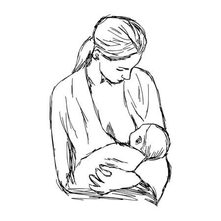 woman drinking milk: illustration doodle hand drawn of sketch baby feeds on MOMs breasts, Breastfeeding baby