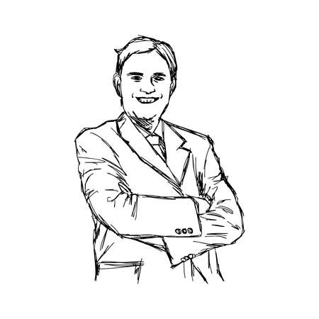 crossed arms: illustration doodle of sketch smiling fat businessman with crossed arms.