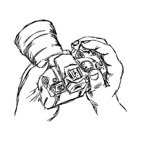 filming point of view: illustration doodle  of sketch hand holding camera isolated on white