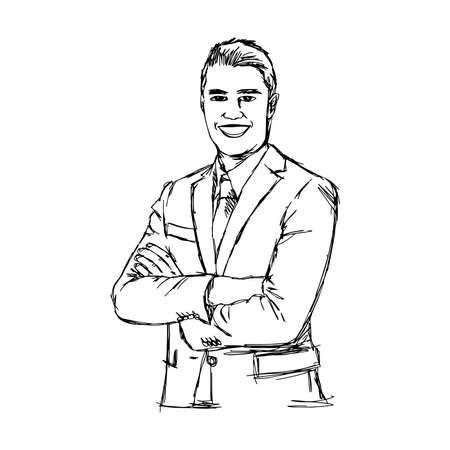 comunicacion no verbal: dibujado a mano ilustración del doodle de negocios sonriente con los brazos cruzados boceto. Lenguaje corporal. No verbal de comunicación postura