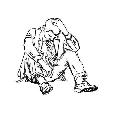 zeichnen: Illustration Doodle Skizze frustriert Geschäftsmann sitzen auf dem Boden isoliert Illustration