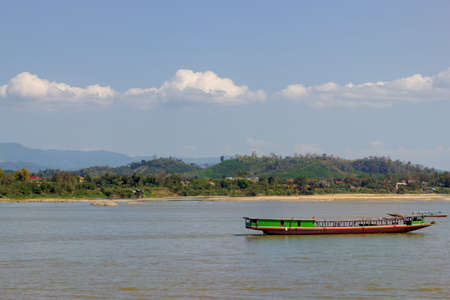 mekong river: boat ride on the Mekong River with beautiful landscape in Thailand
