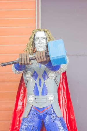 remnant: ANG THONG, THAILAND - APRIL 3 :  Thor made of remnant of iron on April 3, 2016 in Ang Thong, Thailand