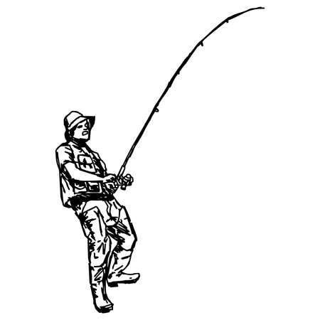 botas altas: Doodles la ilustración del pescador de anzuelo que sostiene aislados en el fondo blanco
