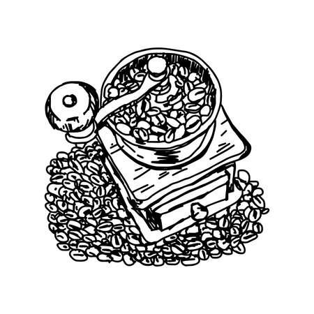 black coffee: illustration  doodles of vintage coffee grinder on coffee beans Illustration