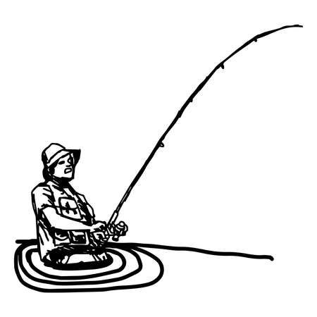 raptorial: illustration  doodles of fisherman with hook in the river isolated on white