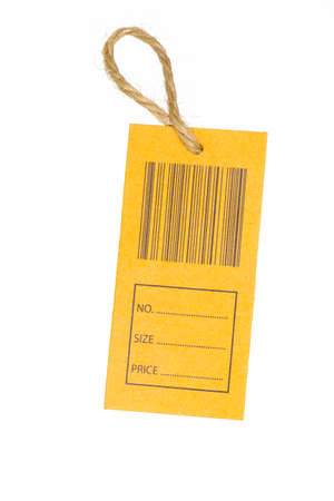 commercialism: close-up of a price tag with bar code isolated on white background. Stock Photo