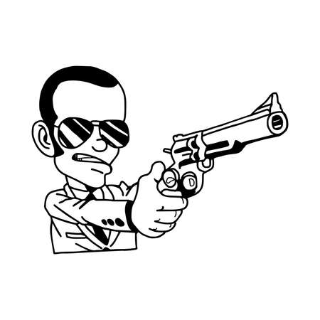 organized crime: illustration vector hand drawn doodle of man in suit holding gun
