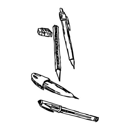 articulos de oficina: ilustración de bosquejo del vector dibujado a mano elementos de la pluma y de la oficina