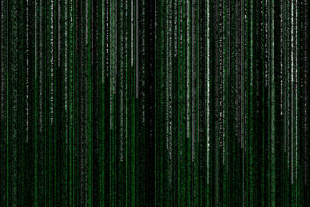 bytes: lines of green white matrix falling on the black background