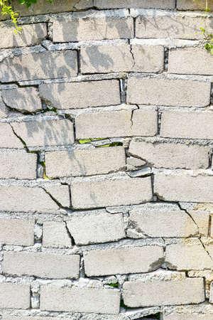 closeup of dangerous wall with cracks. Stock Photo