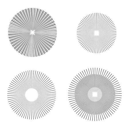 epicentre: illustration vector starburst or sunburst Backgrounds set. Ray, Beam Shapes Illustration