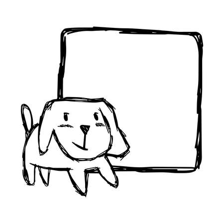 illustration, vector, hand draw, doodles, of cute dog smiling with blank square space isolated on white background Illustration