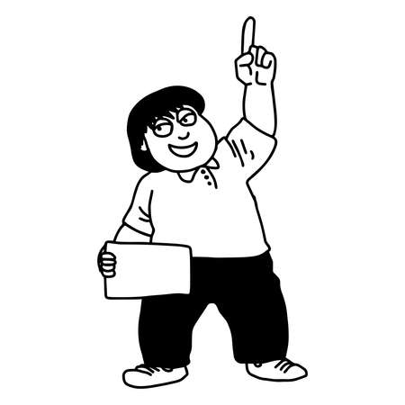 sociologist: illustration vector doodle hand drawn of sketch man pointing up with blank space board on the other hand