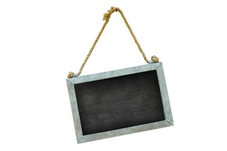 post scripts: blackboard with rope hanging in the wall, isolated on white background, clipping path Stock Photo