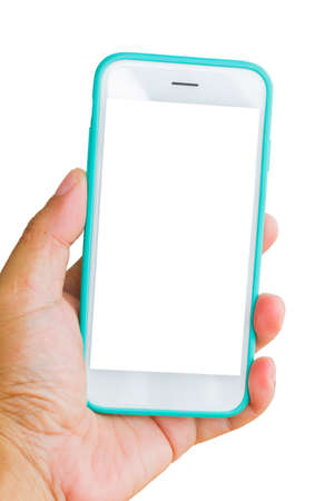touchphone: vertical photo of hand holding smart phone with green case isolated on white background, clipping path