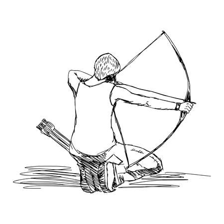 illustration vector doodle hand drawn sketch of female sport archery isolated on white background