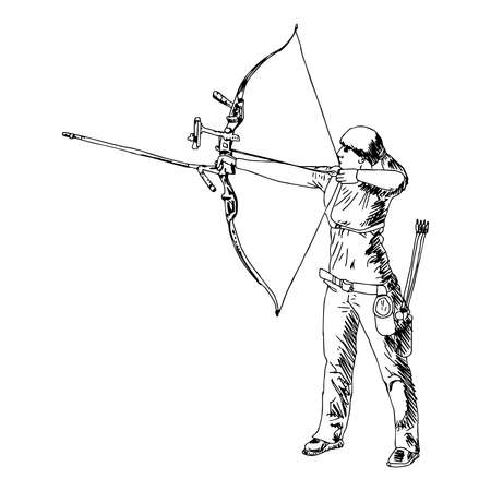 illustration vector doodle hand drawn sketch of female sport archery isolated on white background.