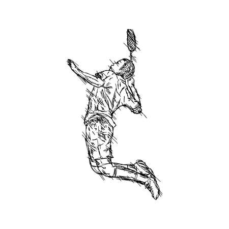 illustration vector doodle hand drawn sketch of sportsman playing badminton isolated on white background