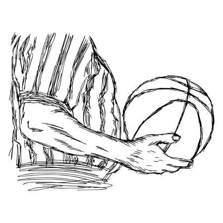arbiter: illustration vector doodle hand drawn sketch of closeup referee holding basketball isolated on white background
