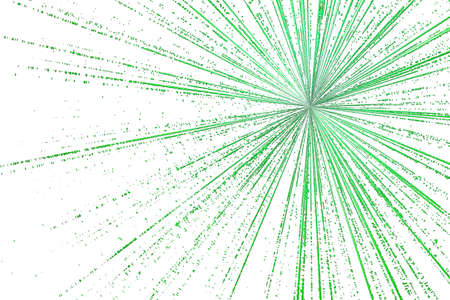 encoded: digital green star burst matrix generated in white background, technology concept.