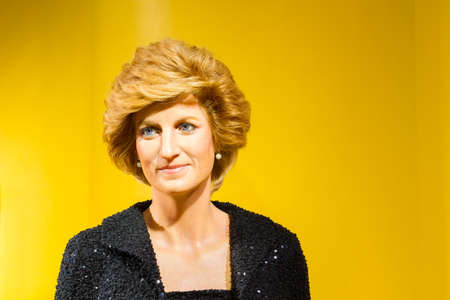 BANGKOK, THAILAND - DECEMBER 19: Wax figure of the famous Princess Diana from Madame Tussauds on December 19, 2015 in Bangkok, Thailand